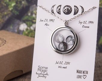 Moon phase necklace, relationship gift, girlfriend gift, personalized gift, gift for women, customized gift, birthday gift, gift for her