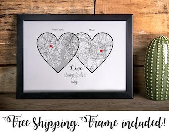Long Distance Relationship Gift Boyfriend Girlfriend Personalized Print Housewarming For Men