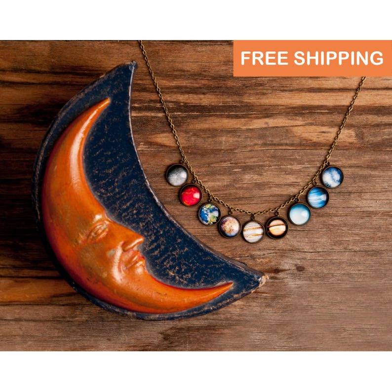 Solar system necklace statement necklace space jewelry image 0