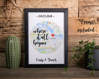 Personalized gift, long distance relationship gift, boyfriend gift, girlfriend gift, personalized print, housewarming gift, gift for men