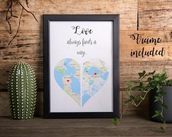 Long distance relationship gift, boyfriend gift, girlfriend gift, personalized gift, personalized print, housewarming gift, gift for men