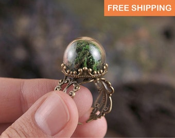 Gift for women, gift for mom, moss ring, nature jewelry, green ring, adjustable ring, statement ring, moss jewelry, girlfriend gift