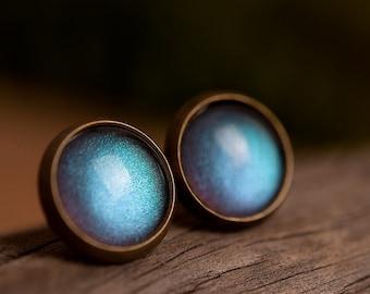 Tiny moonlight earrings, stud earrings, antique brass earrings, gun metal studs, silver plated earrings, post earrings, glass dome earrings