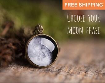 Custom moon phase necklace, custom birth moon, personalized necklace, moon necklace, personalized jewelry, personalized gift, custom jewelry