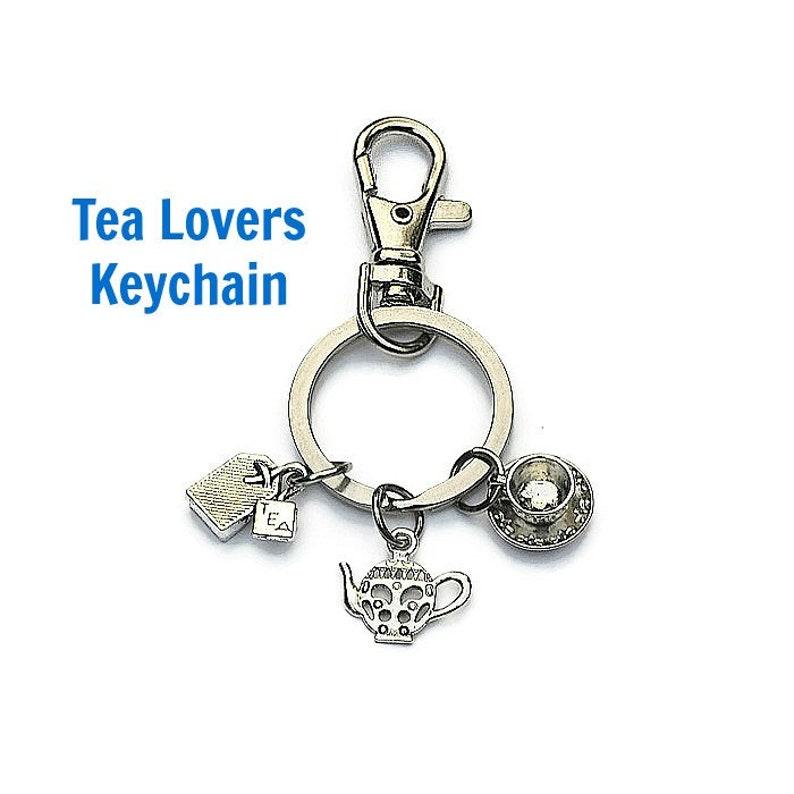 KEYCHAIN with CHARMS Tea Lovers KEYRING Lanyard Keychain Accessory Key Chain with Charms Gifts for Mom Gifts for Grandma Key ring Bag Charms