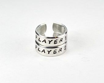 Adjustable Aluminum Ring Set Player 1 and Player 2 Video Game Ring Set BFF Best Friends