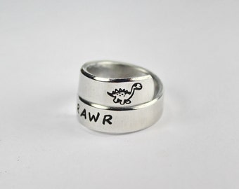 RAWR Means I Love You In Dinosaur Spiral Wrap Ring