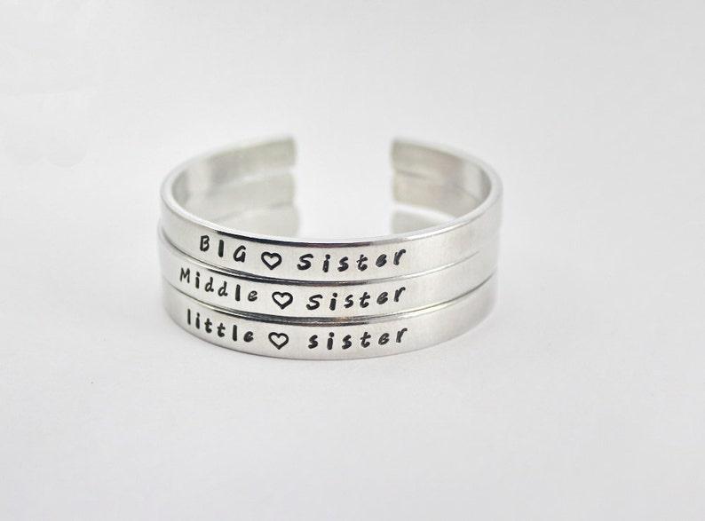 4560a32cff5 Big Sister Middle Sister Little Sister Cuff Bracelet Set | Etsy