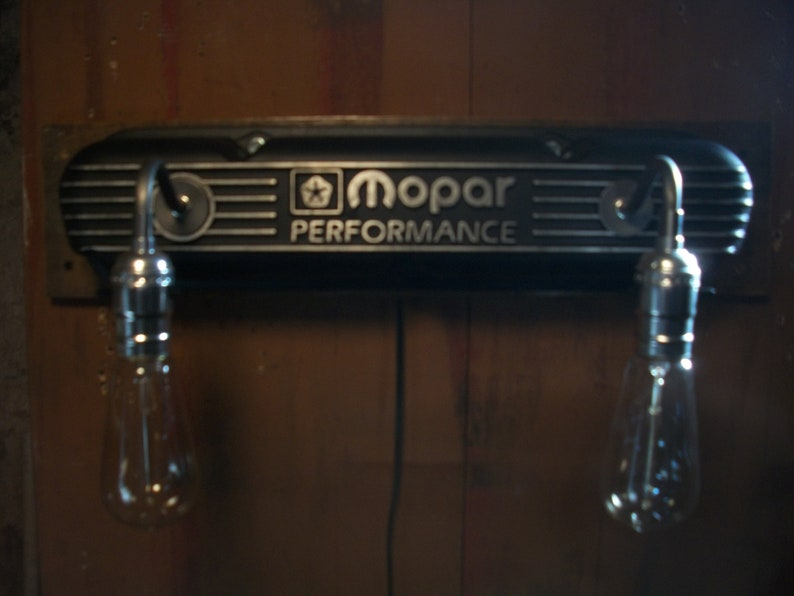Mopar performance small block v8 valve cover wall sconce workshop light 340  360 high performance recyd automotive used car parts