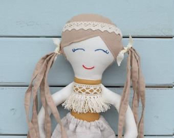 Rag doll, cloth doll, boho, handmade doll, doll, sewn doll, handmade