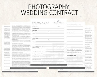 Wedding Contract Pography Template | Wedding Contract Etsy