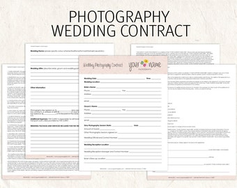 Wedding Photography Contract Business Forms Flowers Editable Etsy