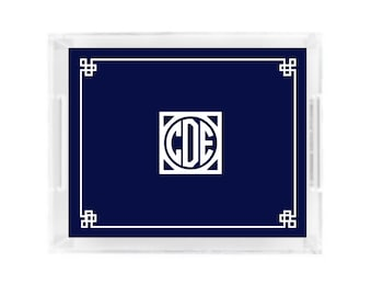 monogram etched acrylic tray personalized acrylic tray etsy