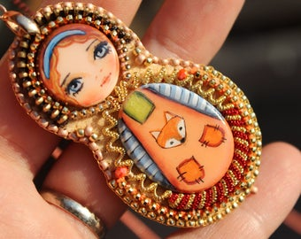 Matryoshka pendant, Nesting doll, Matryoshka necklace, orange and fox, OOAK.