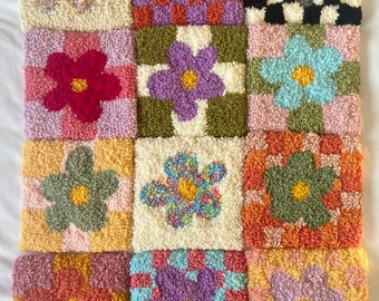 Tufted flower wall hanging