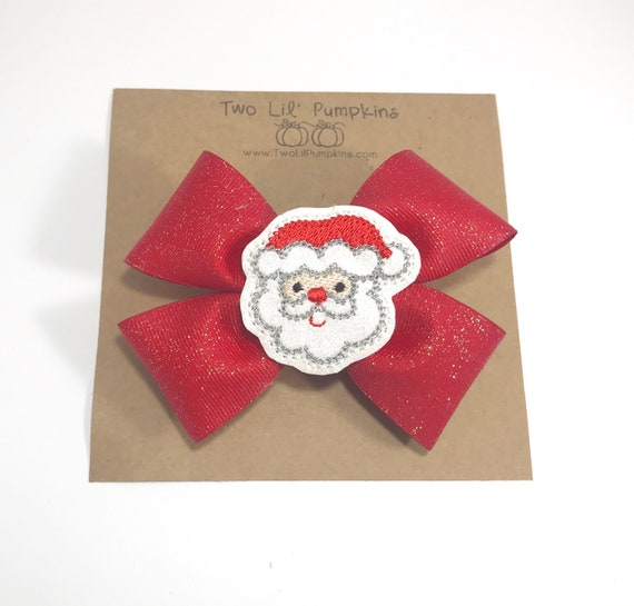 64b9d7f0049b8 Glitter Santa Hair Bow Christmas Hair Bow Santa Hairbow