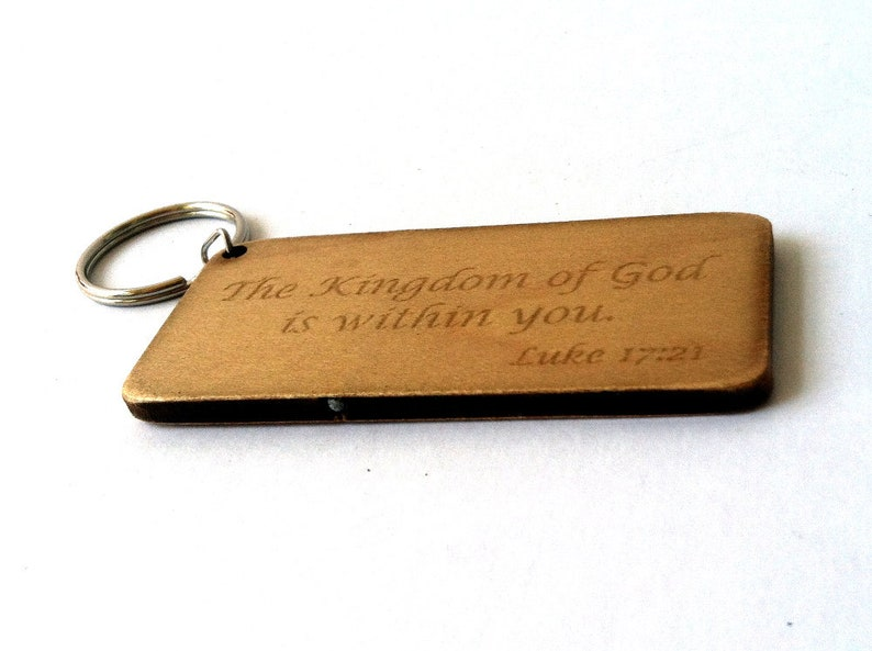 Bible Verse on Wood Key Chain, Laser Engraved Key Fob, The Kingdom of God  is within you  Luke 17:21, Personalize Key Tag, Religous Christian