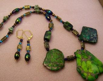 Green Stone Jewelry Set,Irish Jewelry,Celtic Necklace,Natural Stone Necklace Set,Jasper Necklace,Green & Gold Jewelry,#122