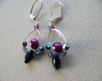 Red Pearl Dangle Earrings, Silver Drop Earrings, Beaded Earrings,silver hoop earrings,colorful earrings,clip earrings, gifts for her, #78
