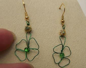 Shamrock Drop Earrings, Green Shamrock Dangle Earrings, Celtic Earrings, Irish Earrings, #96