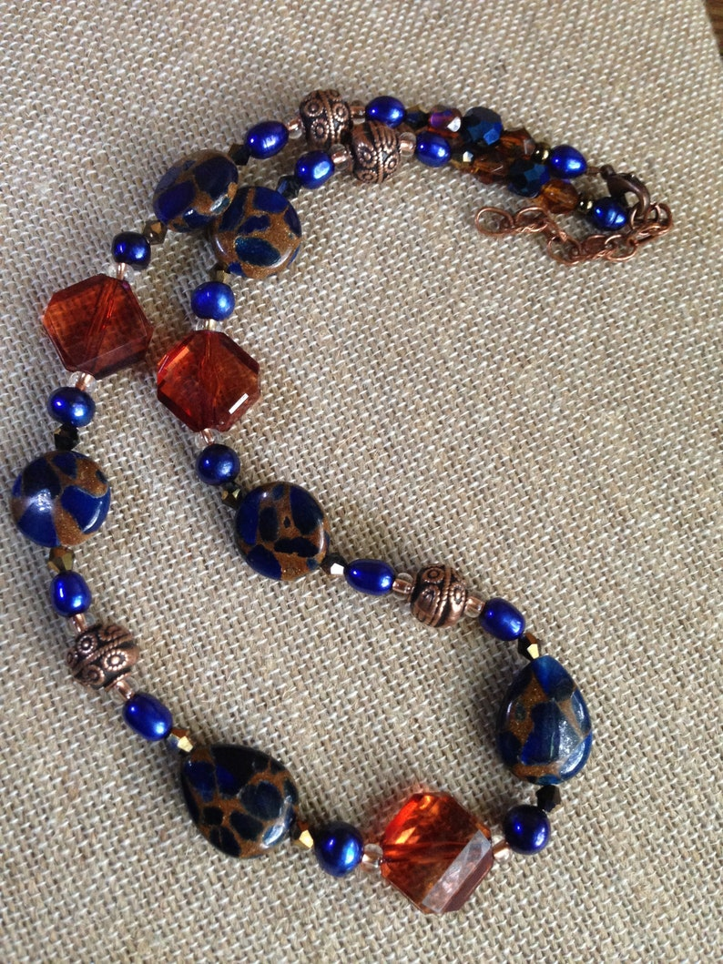 Stone Jewelry Dark Blue  Stone Necklace Blue and Orange  image 0
