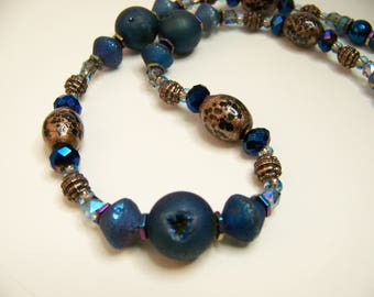 Geode Jewelry,Blue Geode Necklace,Druzy Necklace,Blue Druzy Jewelry,Natural Stone Necklace,Blue & Gold Beaded Necklace,#120