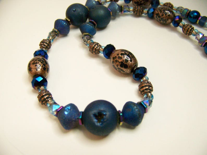Blue and Gold Necklace  Beaded Jewelry Blue  Natural Stone image 0