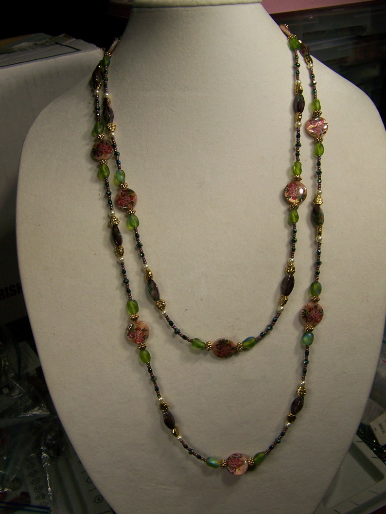 Long Floral Necklace  Floral Jewelry  Long Necklace Pink and image 0