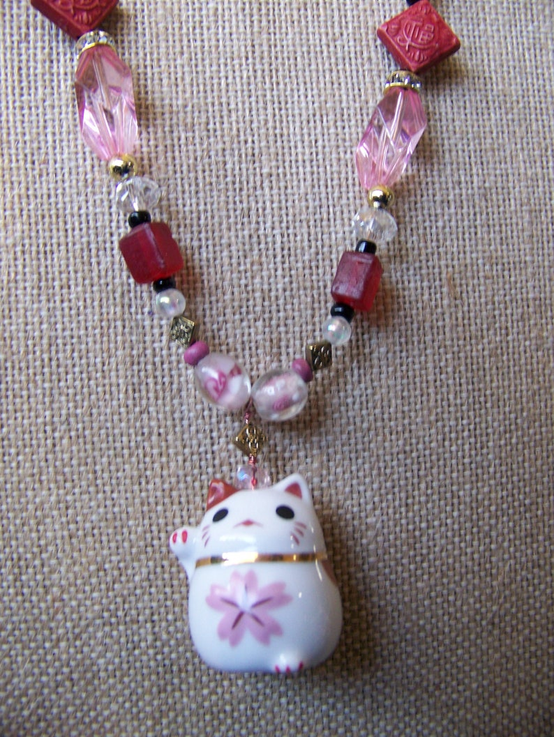 Chinese Happy Cat Necklace  Pendant Necklace Pink  Whimsical image 0