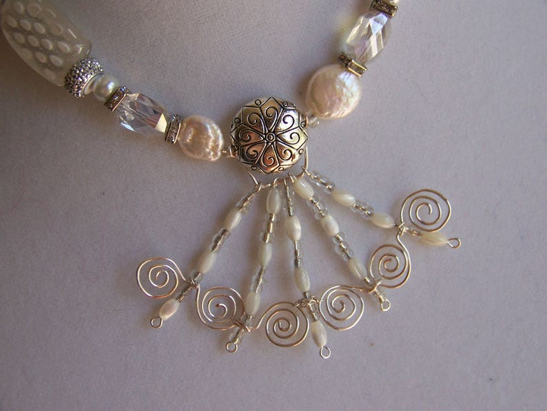 White and Silver Necklace Set  White Pearl Necklace for a image 0