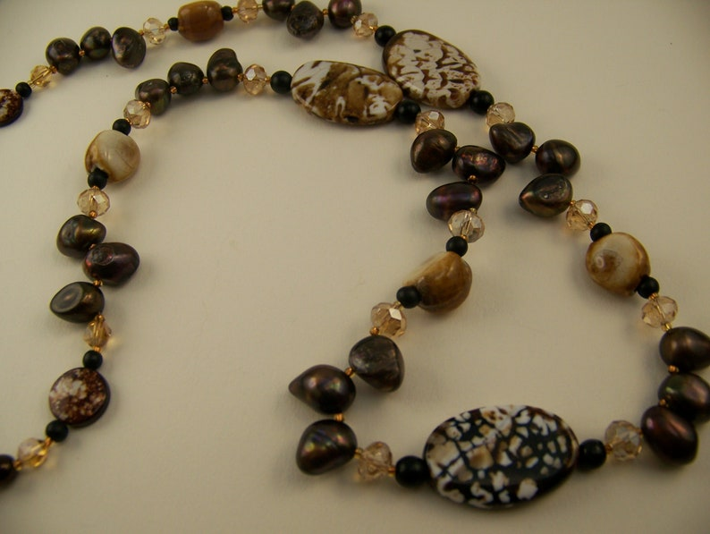 Long Beaded Necklace Brown and White  Crackle Agate and image 0