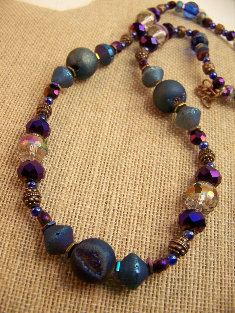 Blue Druzy  Geode Necklace  Geometric Jewelry  Dressy Stone image 0