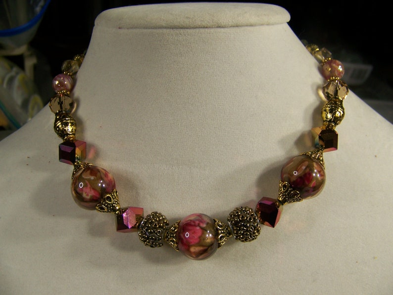 Floral Jewelry  Floral Necklace Rose and Gold  Chunky image 0