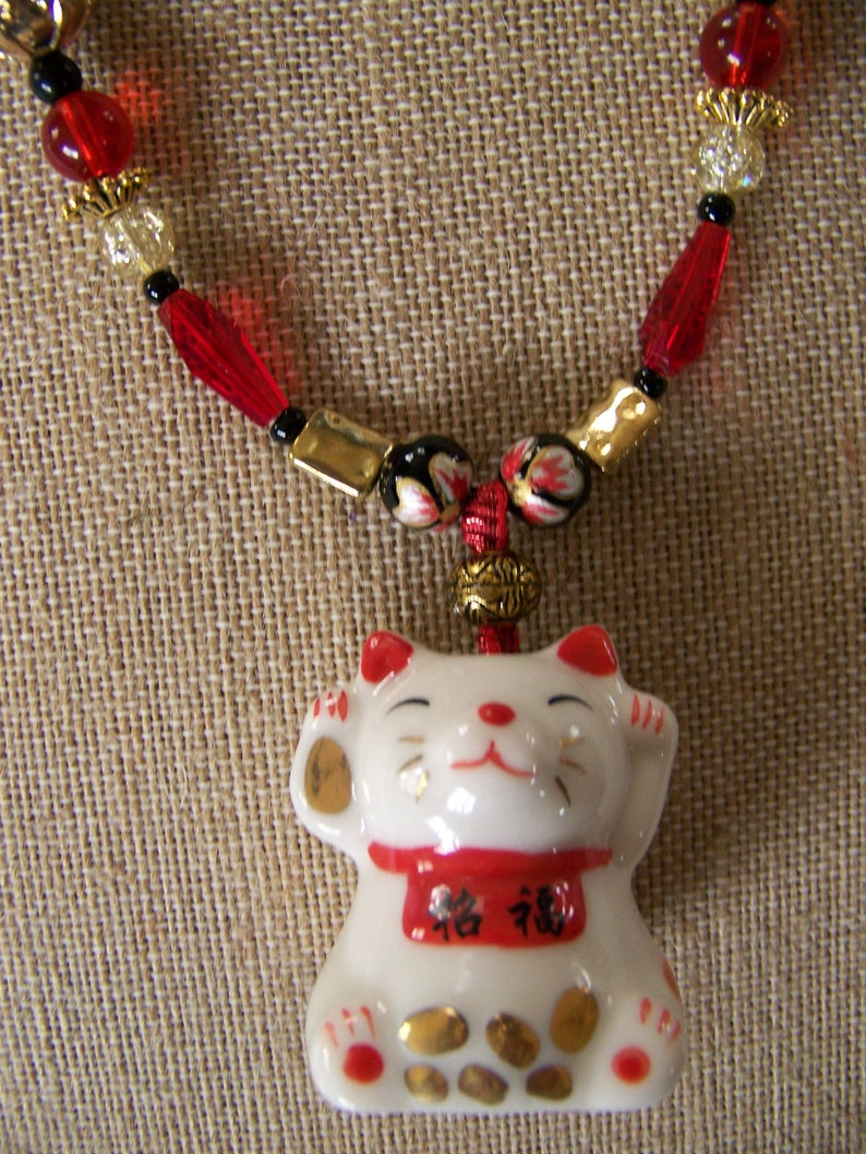 Red & White Necklace Animal  Japanese Necklace Cat  Pendant image 0