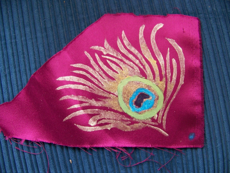 Peacock Feather Stencil Pattern Original Fabric Painting image 1