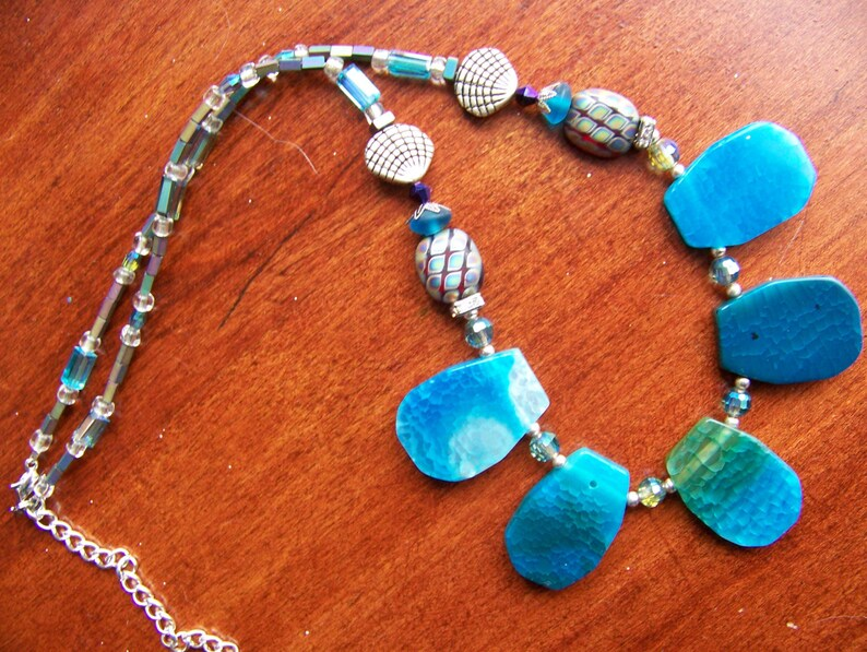 Blue Stone Necklace  Shell Necklace Silver  Nautical image 0