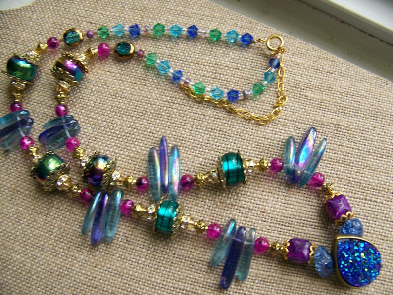 Blue & Gold Beaded Necklace Set  Peacock Jewelry Set  image 0
