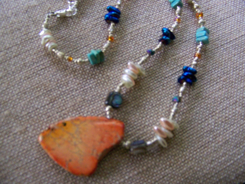 Orange Stone Pendant Necklace  Natural Stone Necklace  image 0