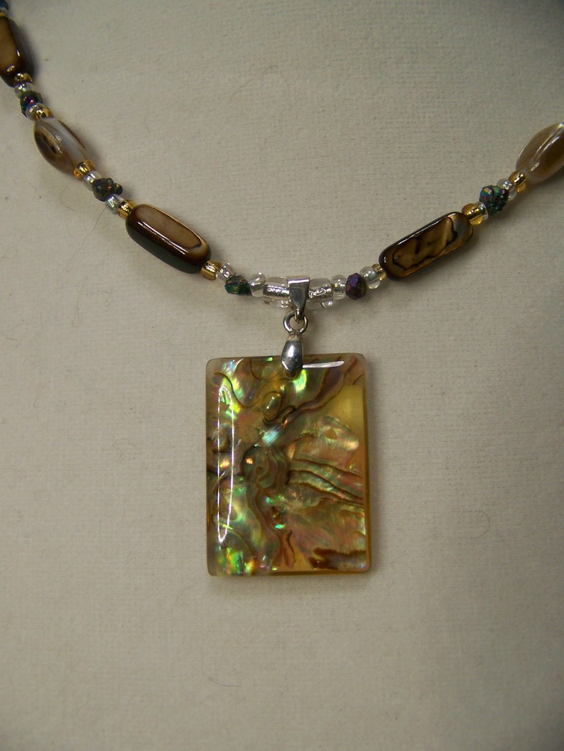 Pendant Necklace Abalone  Mother of Pearl Jewelry Beach  image 0