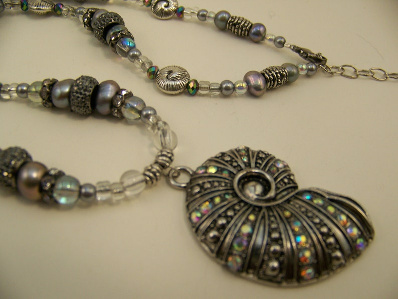 Gunmetal Pendant Necklace Nautilus Shell  Antique image 0