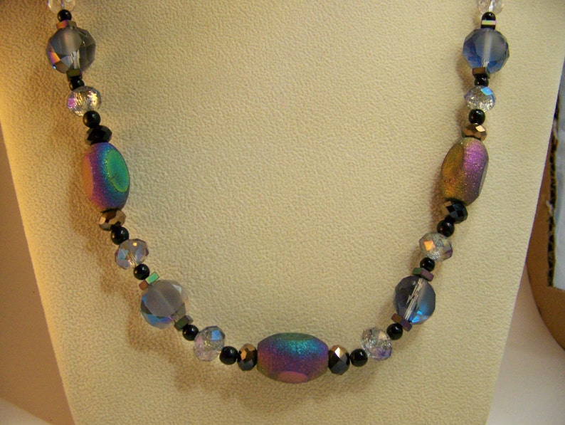 Iridescent Stone Necklace Set  Multicolored Beaded Necklace image 0