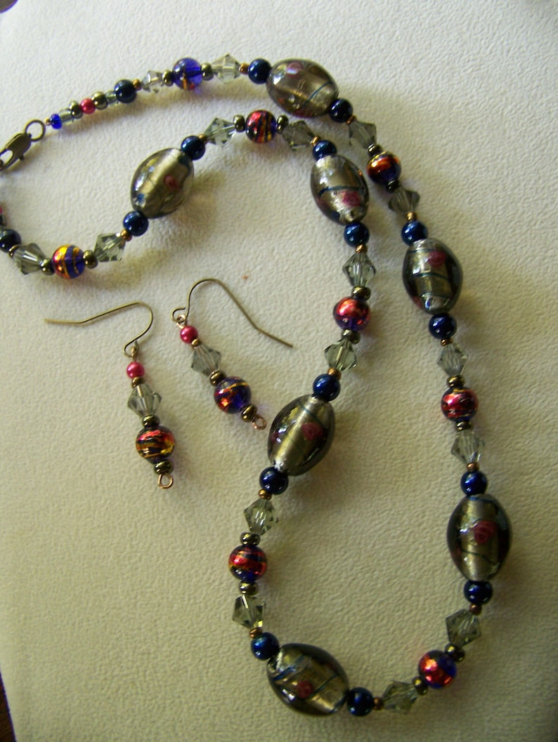 Floral Jewelry Set Brass/Blue  Gold and Blue Necklace with image 0