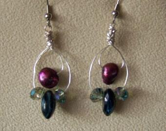 Pearl Dangle Earrings, Beaded earrings, Drop Earrings,Freshwater Pearl Earrings,Red earrings,silver earrings,hoop earrings,gift for her. #77
