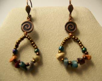 Bronze Earrings,Beaded Earrings,Dangle Earrings,Copper Earrings,Drop Earrings,Colorful Stone Earrings,Primitive Earrings,Tribal jewelry#75