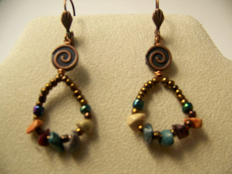 Earrings Whimsical Stone  Beaded Earrings Copper  Dangle image 0