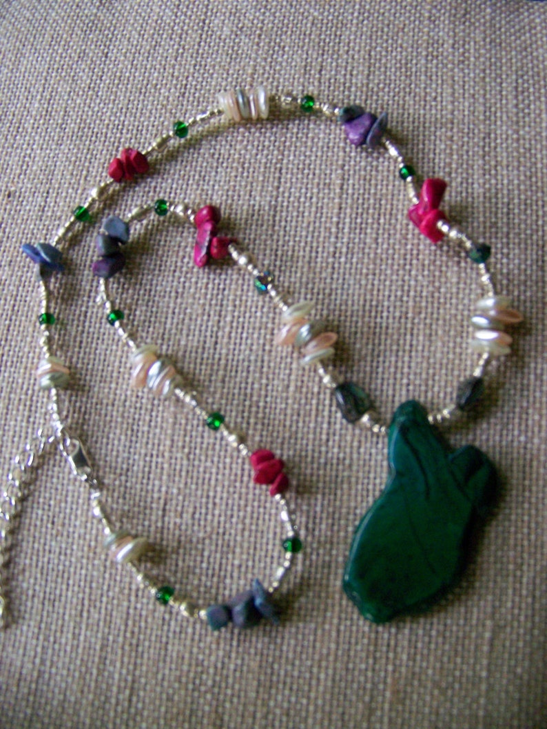 Natural Stone Pendant Necklace  Green and Pink Jewelry  image 0