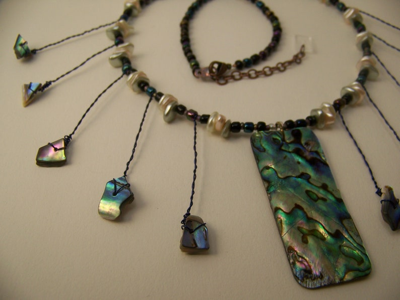 Abalone Pendant Necklace Blue Green  Natural Shell Jewelry image 0
