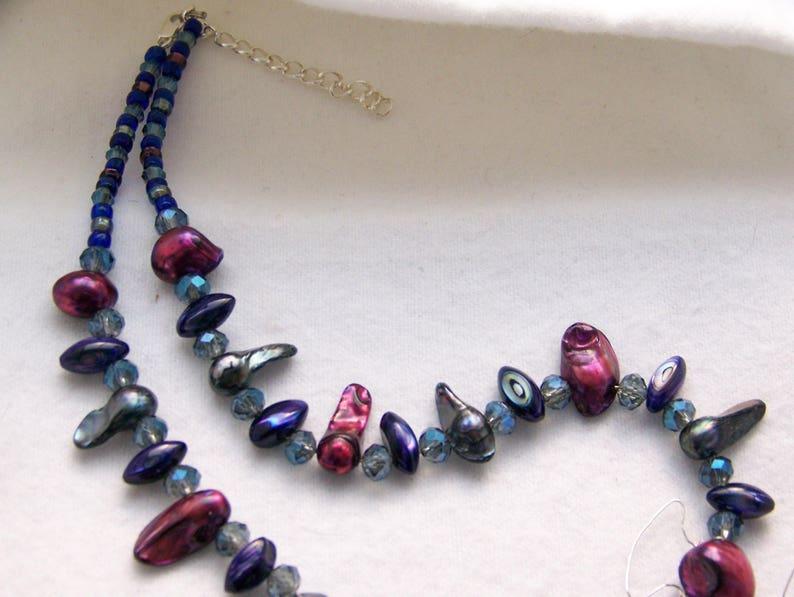 #62 Red Jewelry Set Crystal /& Pearl Jewelry Purple Necklace Freshwater Pearl Jewelry Pendant Necklace Set