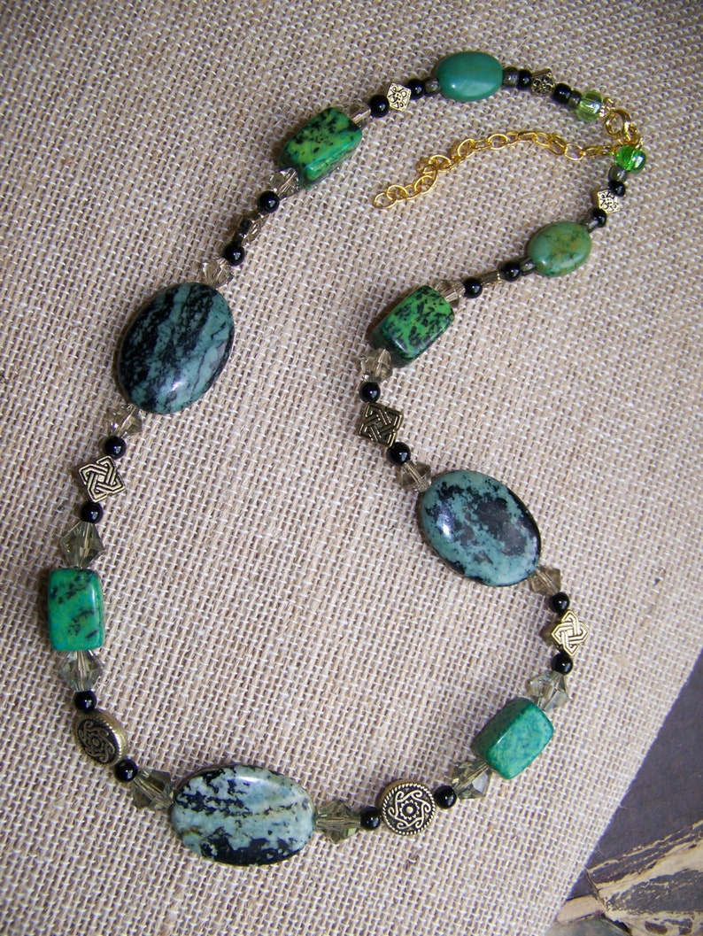 Green Celtic Stone Necklace  Natural Stone Necklace Green  image 1