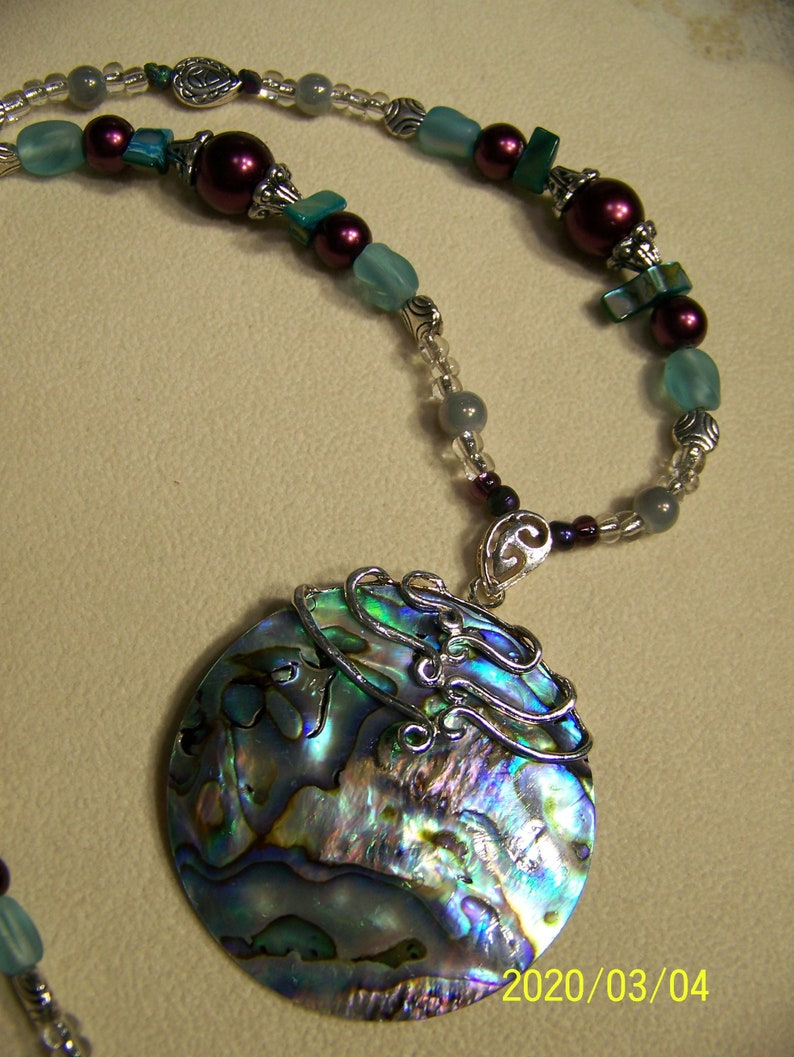 Tunic Top Jewelry Beaded  Mother of Pearl Pendant Necklace image 0